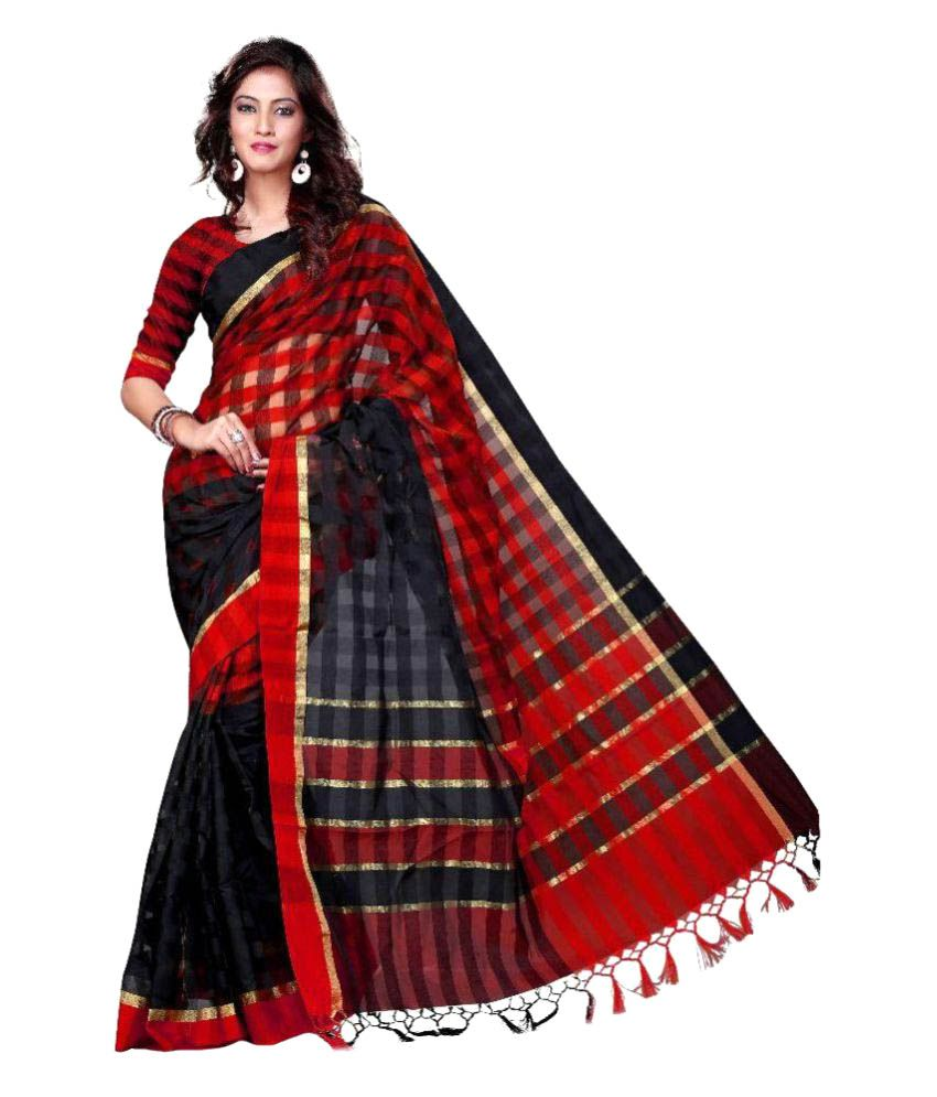 Asavari Red and Brown Cotton Blend Saree