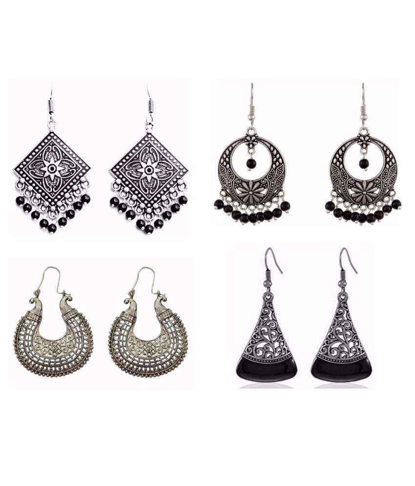 Archi Collection Jewellery Combo Designer Fancy Party Wear Oxidised Silver Dangler Earrings for Girls and Women