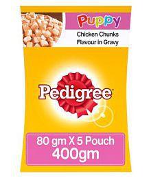 Pedigree Gravy Puppy Chicken&Rice 80 G,Pack Of 5 Dry Chicken Based