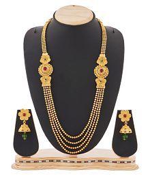 Reeva Fashion Jewellery Multistrand Golden Necklace Set For Women