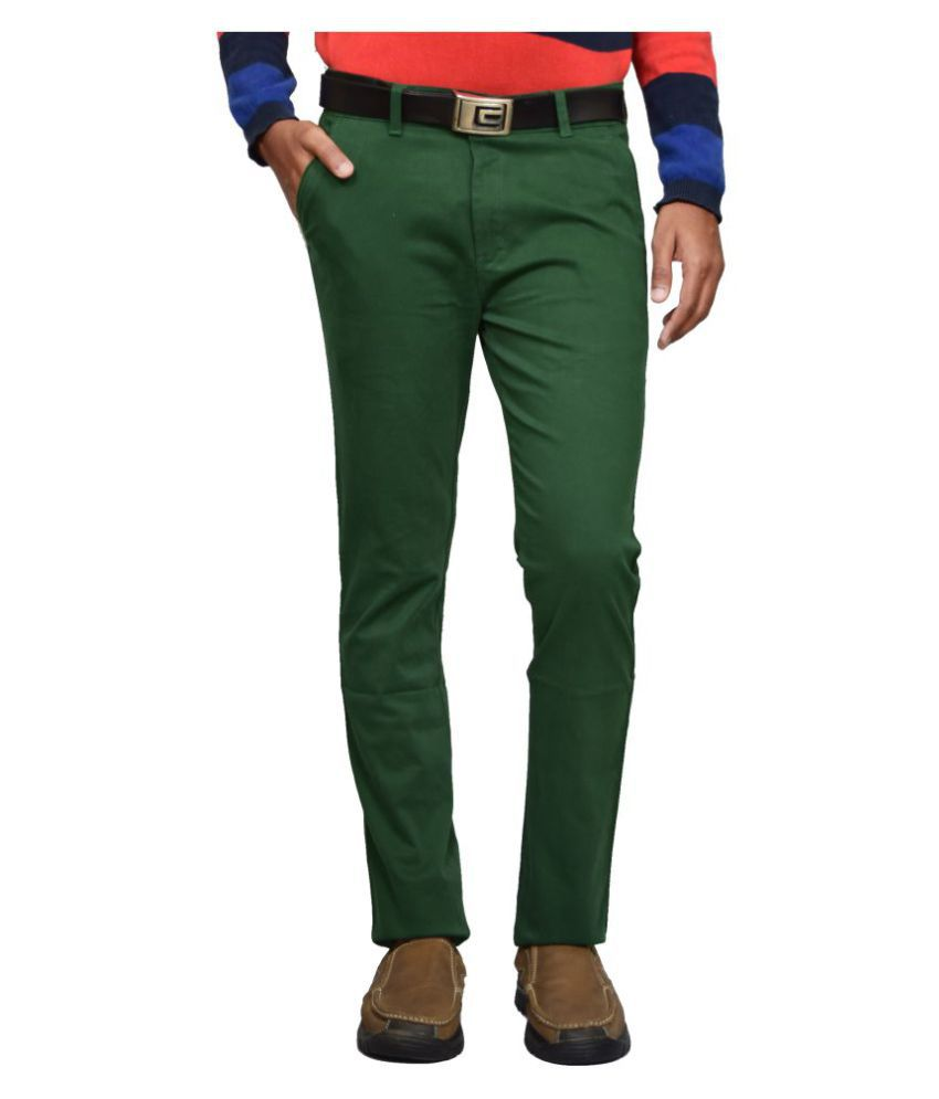American Noti Green Slim -Fit Flat Chinos