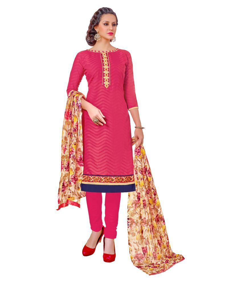 Urban India Pink Jacquard Dress Material