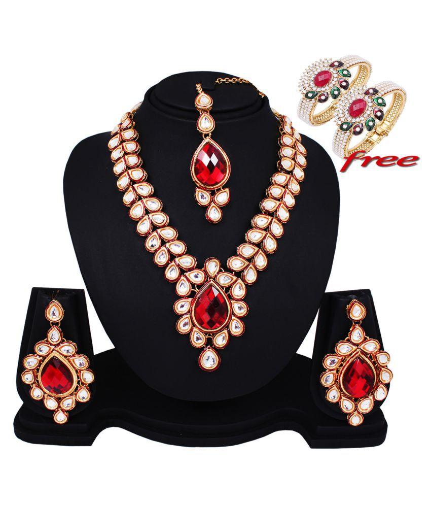 Soni Art Alloy Attracktive Kundan Bridal Necklace Set (0161)