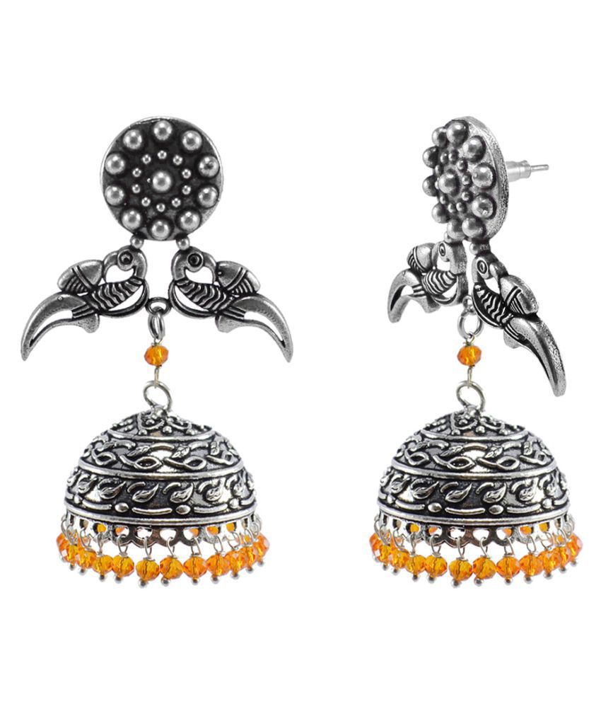 Silvesto India Handmade Texture Parrot Parrot Jhumka Earrings-Fashion Wear Jewellery Collections PG-111659