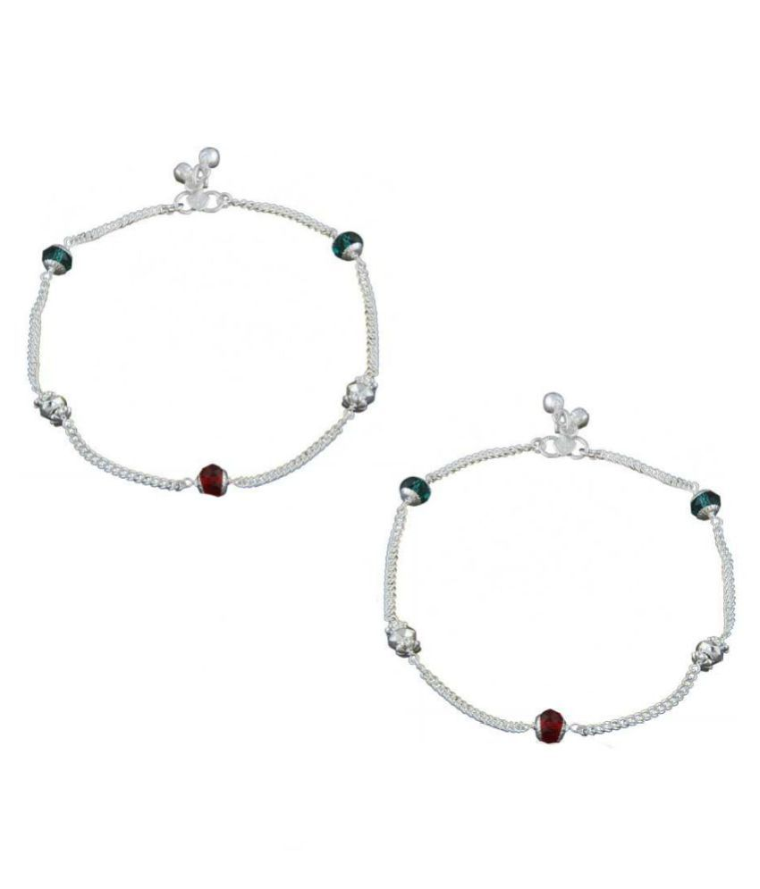 Anuradha Art Silver Tone Styled With Multi Colour Beads Styled Traditional Anklet/Payal For Women/Girls