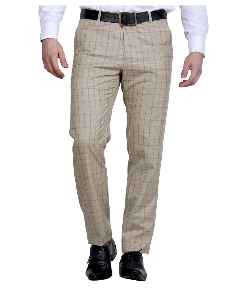 La Mode White Regular -Fit Flat Trousers