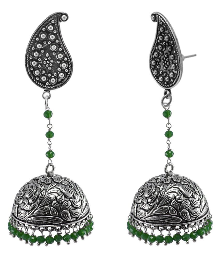 Silvesto India Gracefully Expressive Traditional Jewellery 38.5 Grams Alloy Oxidized Handmade Spiritual Pear Studs Jhumki Earrings With Tiny Green Crystals PG-112082