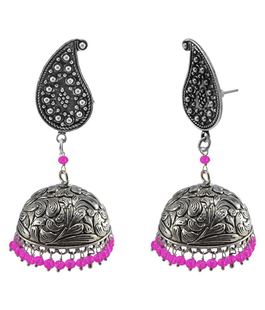 Silvesto India Traditional Style Indian Earrings Crafted in Alloy With Pink Crystals And Pear Studs Jhumki PG-112089