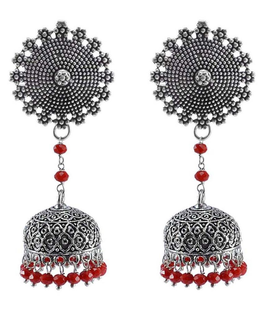Bollywood Belly Dance Women Party Wear Floral Jhumki Chandelier Earring With Smal Red Crystals PG-112878