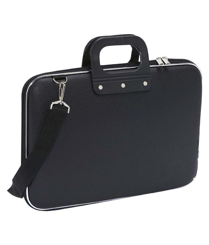 HomeSmart Black PU Leather Office Laptop Bag With String 15 Inch/Side Bag Cross Bag Leather Bag Men Man Side Bag Gents Bag Men Side Bag One Side Bag Men Carry Bag Men