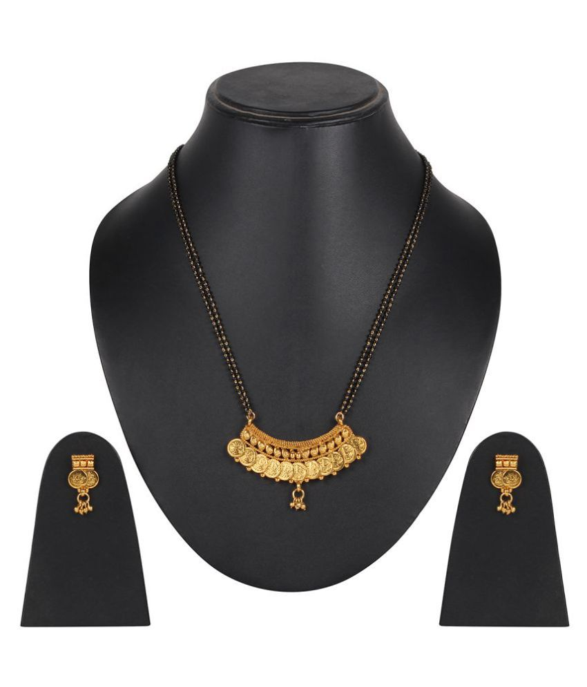 Ds Gold Plated Designer Black Beads Mangalsutra for Women(Ds217)