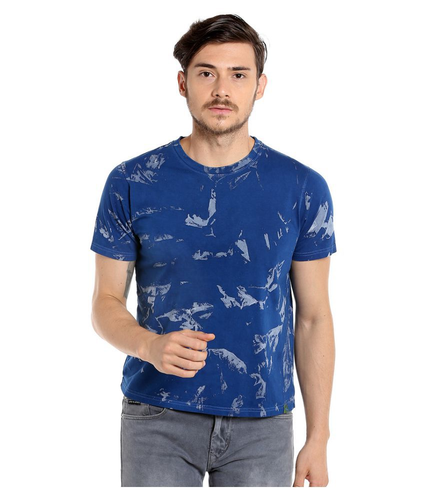 Campus Sutra Blue Round T-Shirt