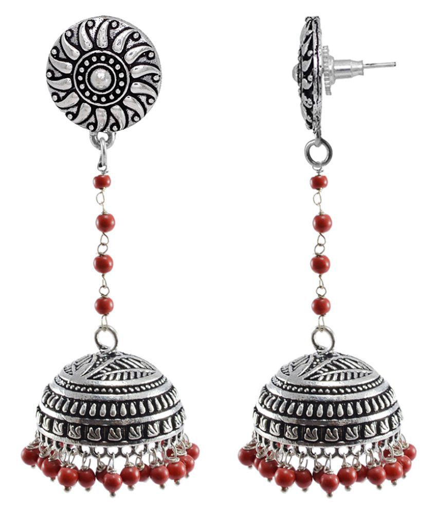 Jaipuri Jhumka-Round Stud Oxidized Jhumkai-Dome Shaped Mandmade Coral Dangle Chandelier Earring-Silvesto India PG-112216