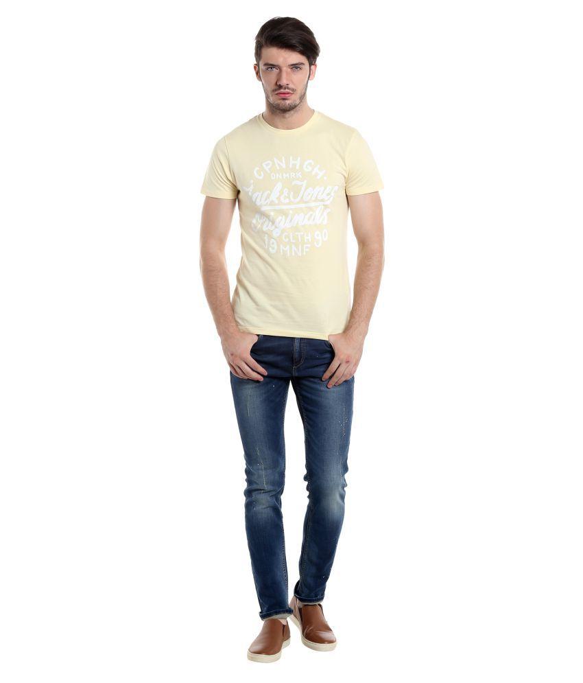 Jack & Jones Yellow Round T-Shirt
