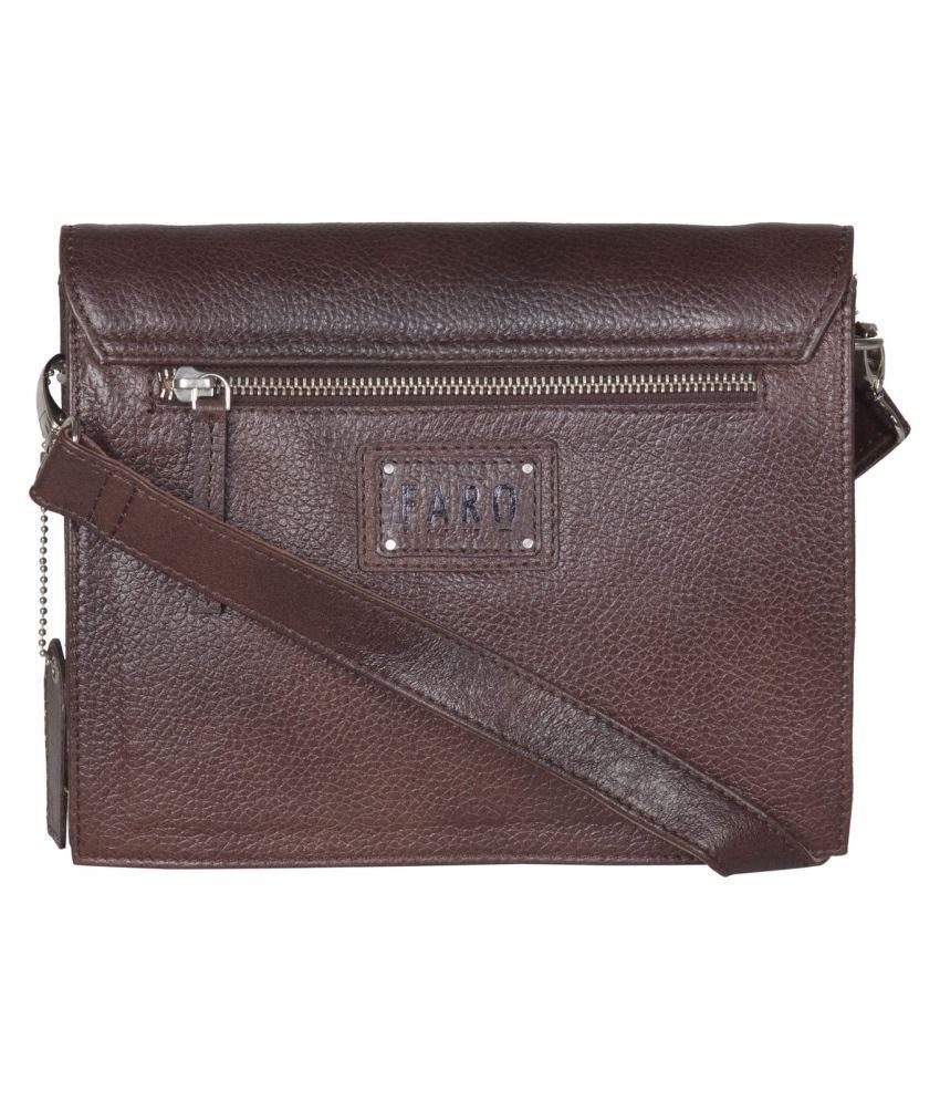 Faro Brown Pure Leather Sling Bag