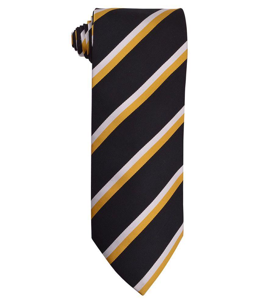Bharat Intr Black Stripes Polyester Necktie