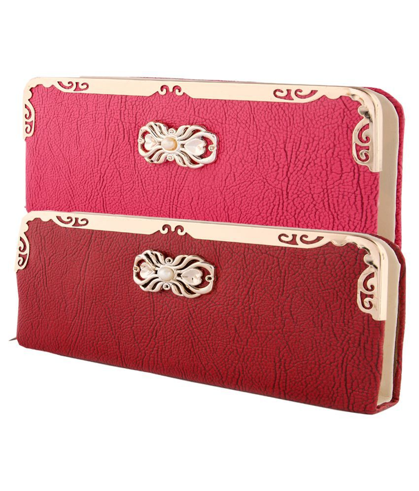 HS COLLECTION Multi Faux Leather Box Clutch