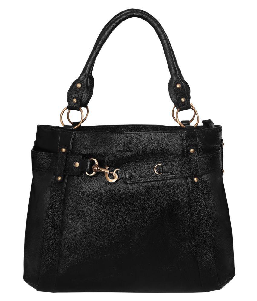 Abeeza Black Pure Leather Handbags Accessories