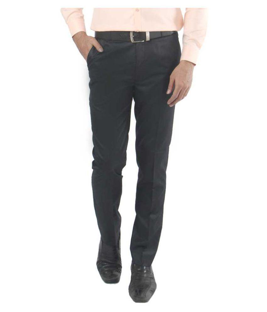 zido Black Regular -Fit Flat Trousers