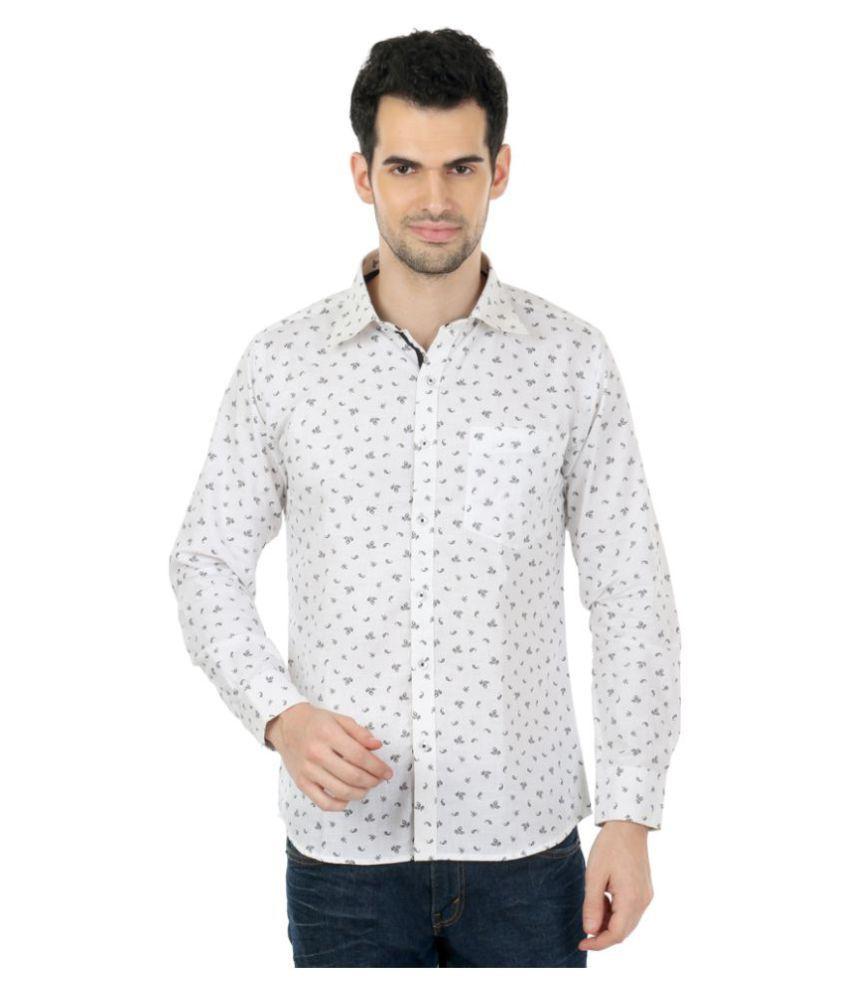 zido White Casual Slim Fit Shirt