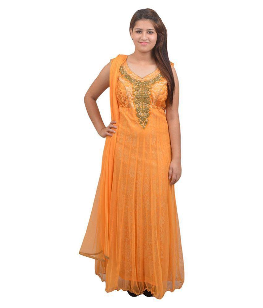 Manashi Orange Net Anarkali Stitched Suit