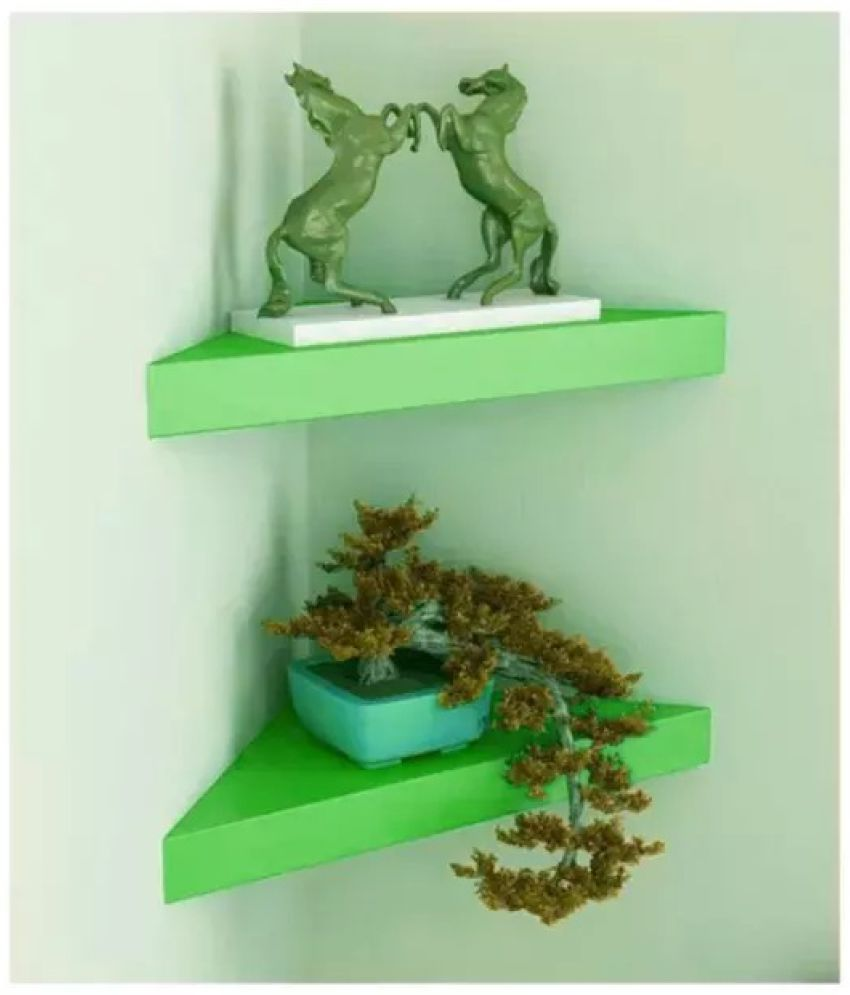 Onlineshoppee Floating Shelf/ Wall Shelf / Storage Shelf/ Decoration Shelf Green - Pack of 2
