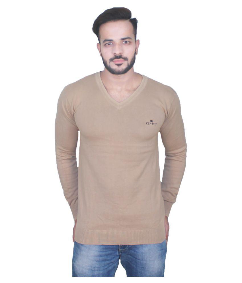 CZARFIT Brown V-Neck T-Shirt