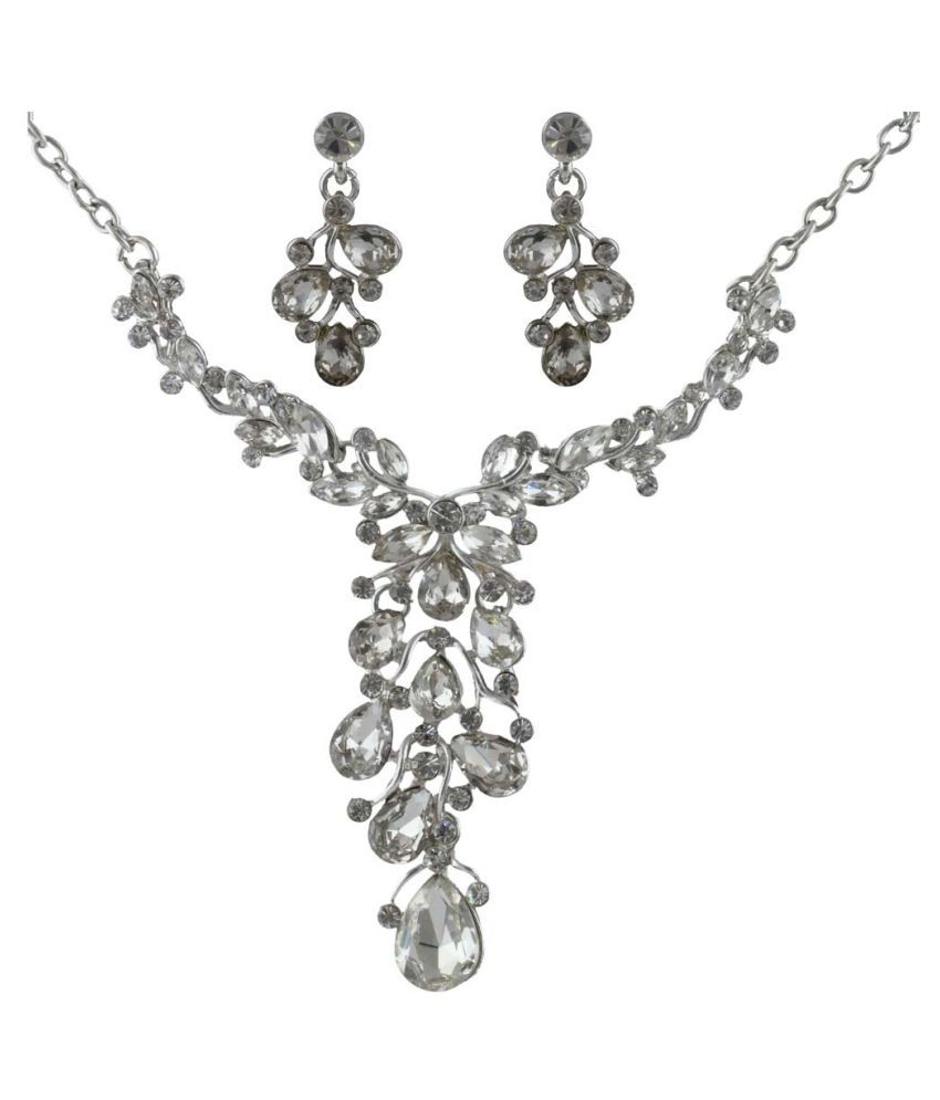 Anuradha Art Silver Finish White Colour Studded Shimmering Stone Necklace Set For Women/Girls