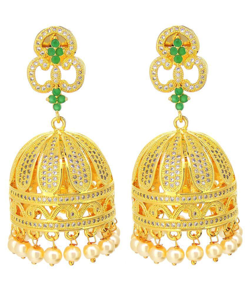 Contemporary American Diamonds Colored Stone Desginer Party Wear Jhumki / Jhumka Earring For Girls / Women