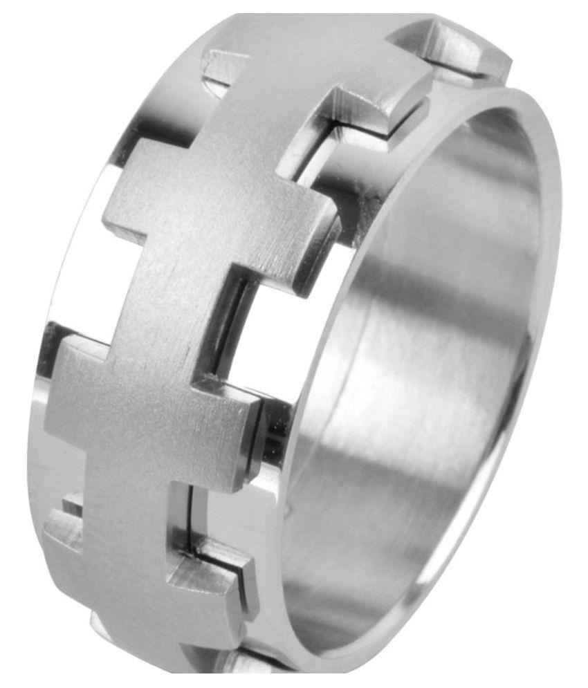 Inox Jewelry Modern Silver Polished & Matte Finish Raised Cross Pattern Ring