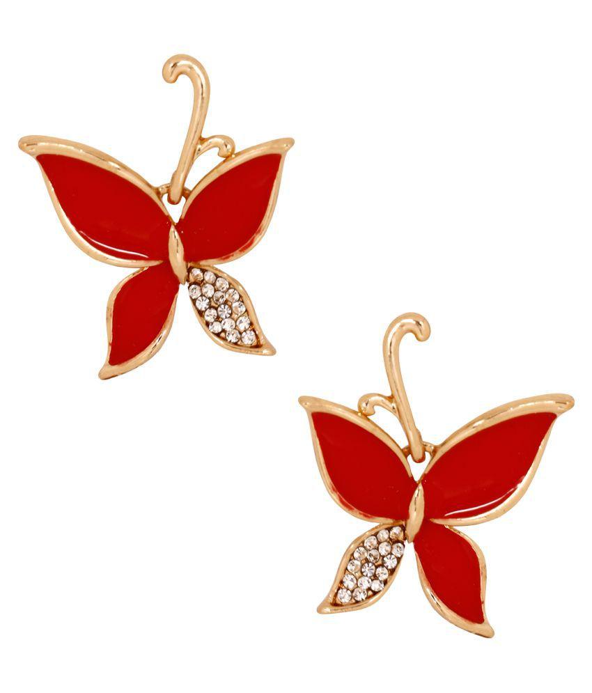 Jewels Gold Fashion Sweet Diamond Butterfly Earrings Set For Women & Girls