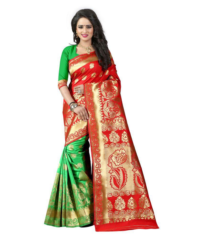greenvilla designs red Art Silk Saree