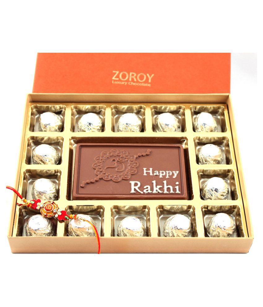 Zoroy Luxury Chocolate 15 chocolates Chocolate Box Rakhi and Raksha Bandhan Chocolate Gifts 500 gm