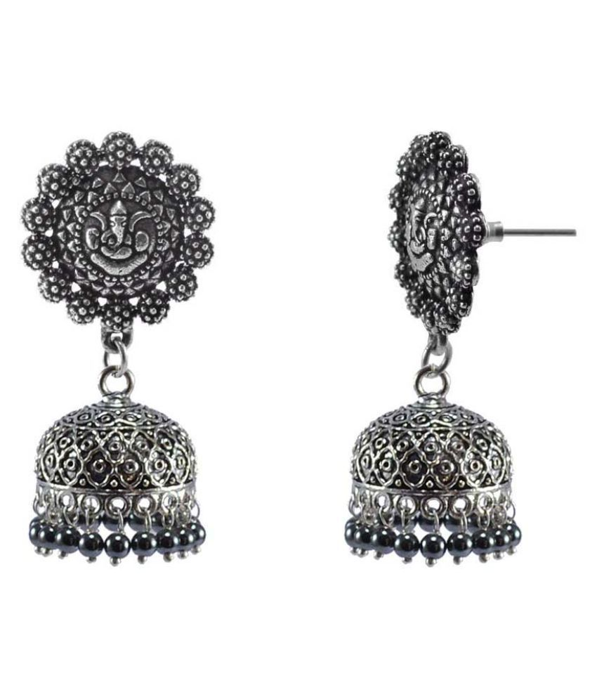 Silvesto India Temple Gaensha Jhumki Earrings With Hematite Beads-Indian Garba Festival Jewellery PG-113095