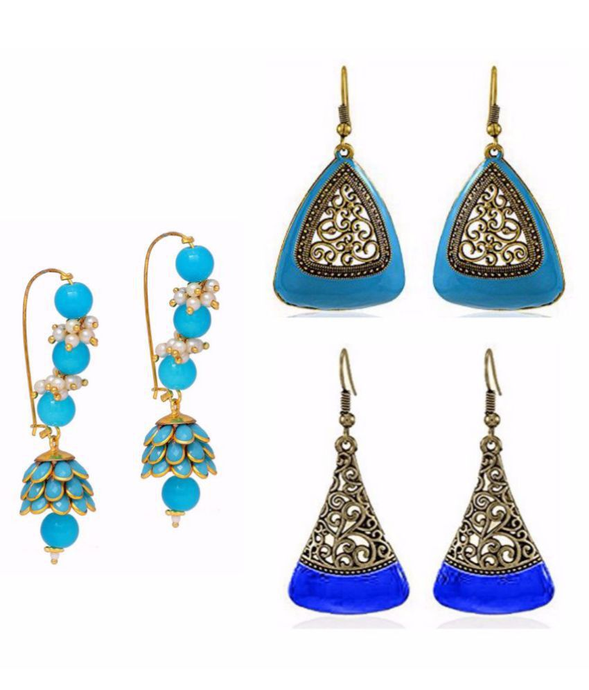 Archi Collection Jewellery Combo of Ethnic Fancy Party Wear Sky Blue Paachi Pearl Jhumki Earring & Oxidised Silver Earrings for Girls and Women