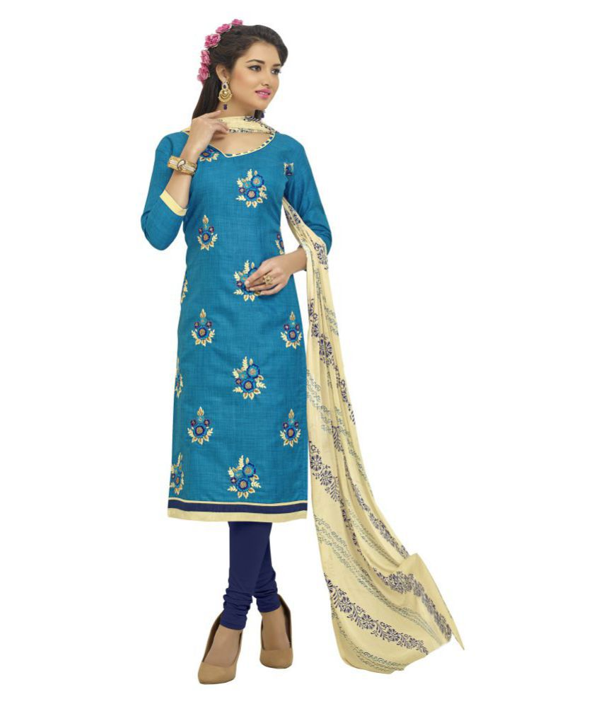 Urban India Blue Silk Dress Material
