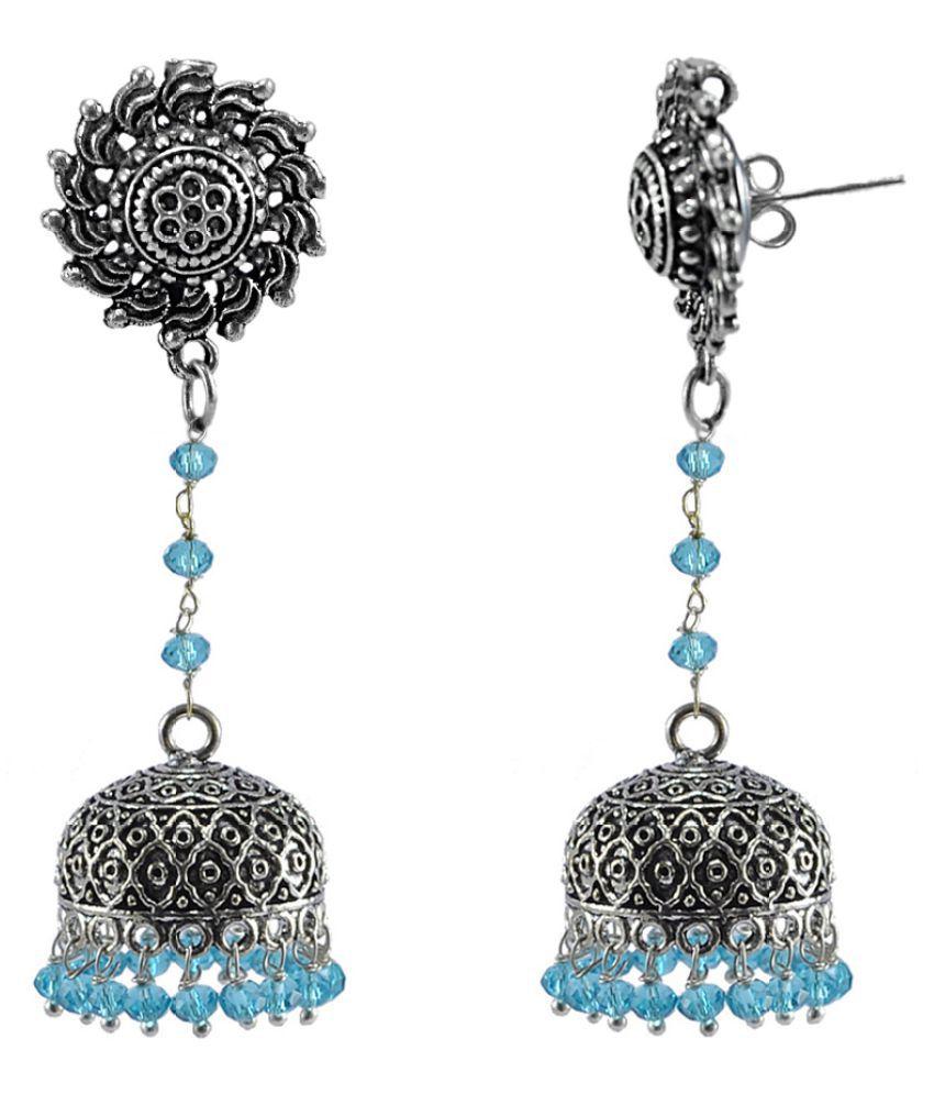 Silvesto India Blue Topaz Crystal Beads With Surya Studs Jhumka-Oxidized Jhumki Handcrafted Earrings PG-113447