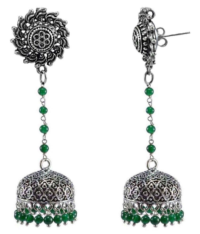 Silvesto India Surya Jhumkas Green Beads Jewellery-Handmade Ethnic Earrings PG-113401