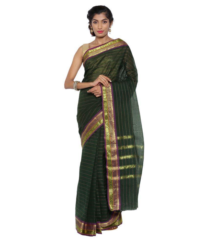 Pratami Green Cotton Saree
