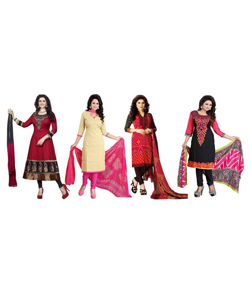 Kavya Fashion Multicoloured Polycotton Dress Material