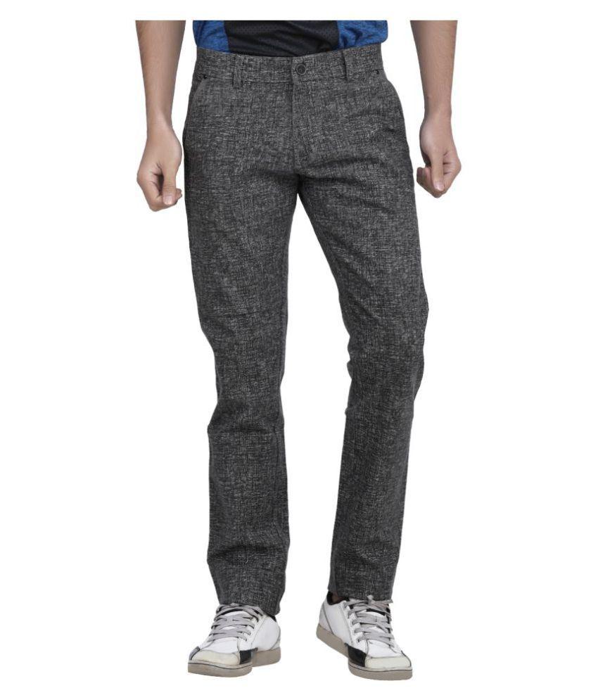 Benzora Black Regular -Fit Flat Trousers