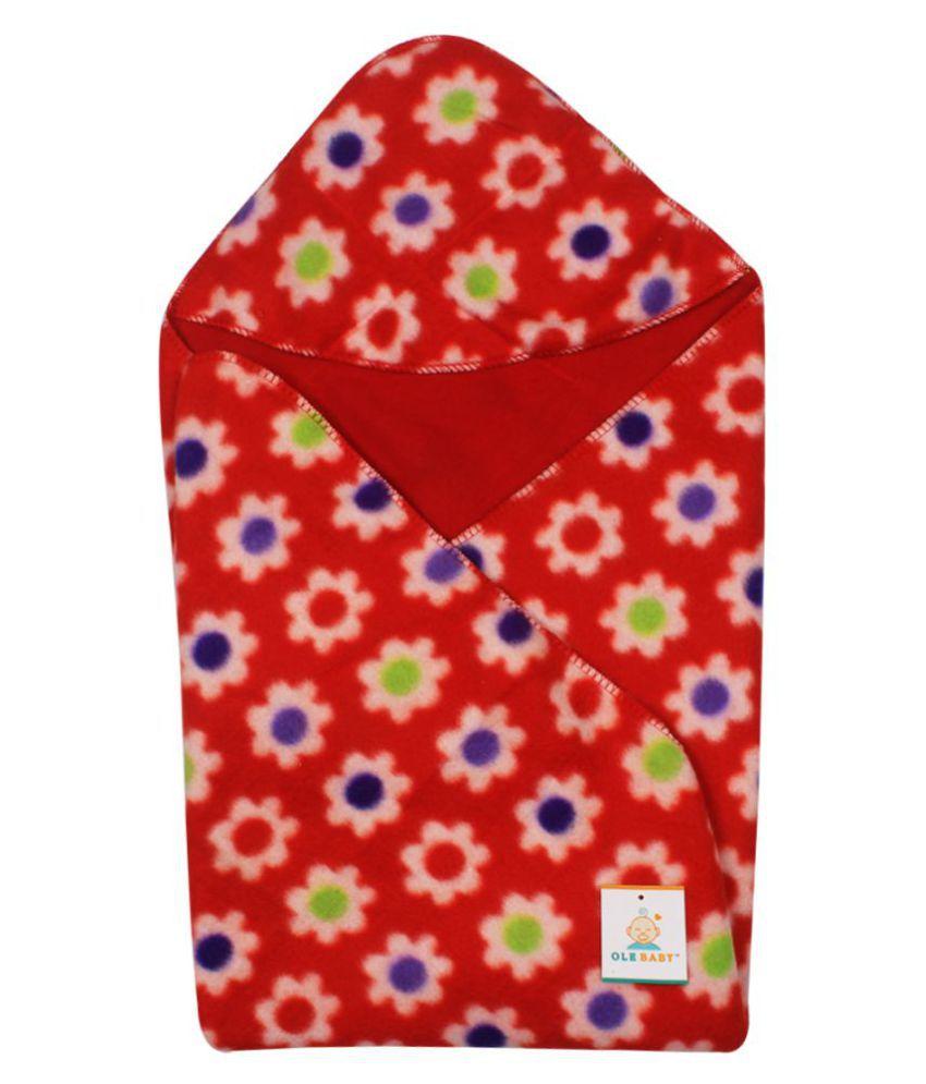 Ole Baby Red Cotton Baby Wrap cum blanket ( 32 cm × 32 cm - 1 pcs)