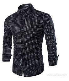 Air Mail Black Casual Slim Fit Shirt