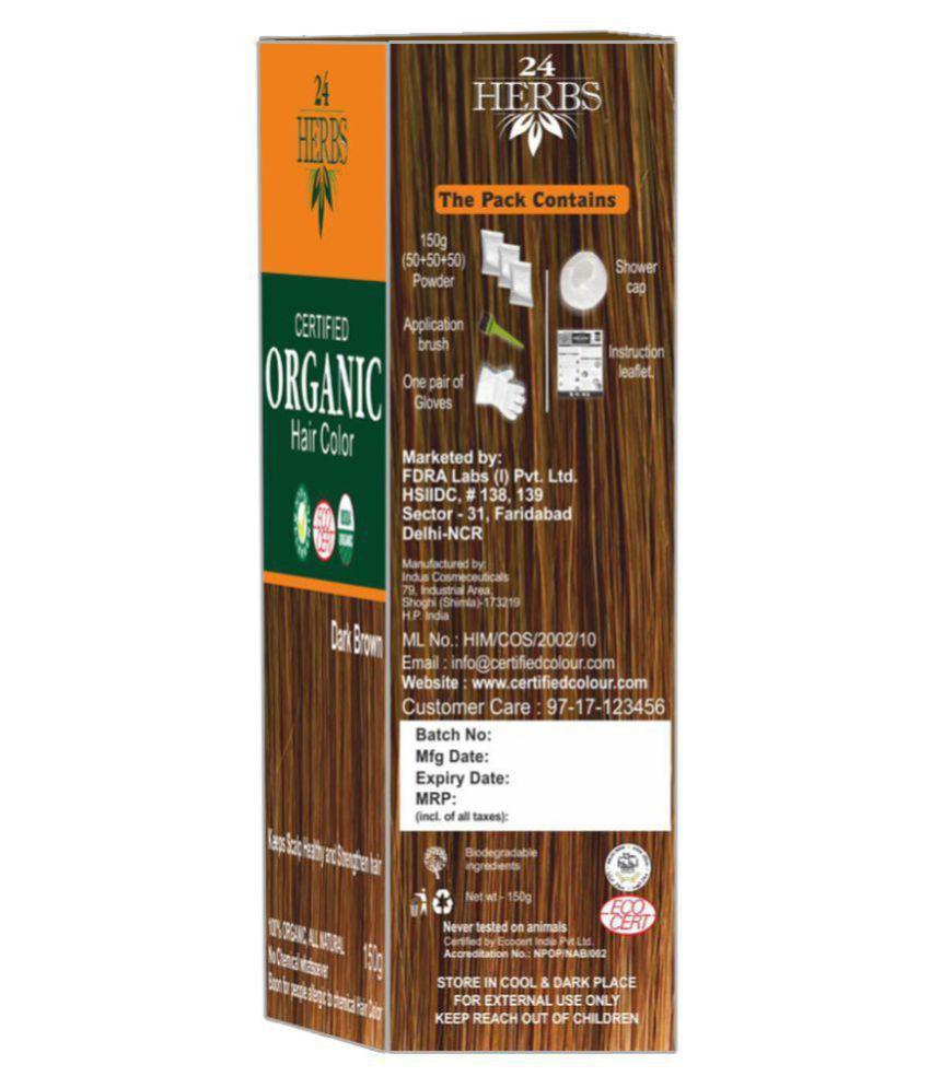 24 Herbs Certified Organic Dark Brown Hair Color Semi Permanent Hair