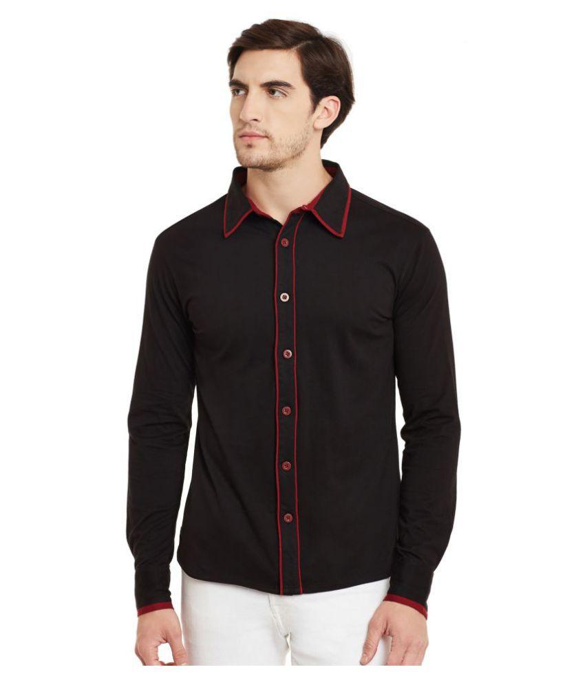 Gritstones Black Casual Regular Fit Shirt