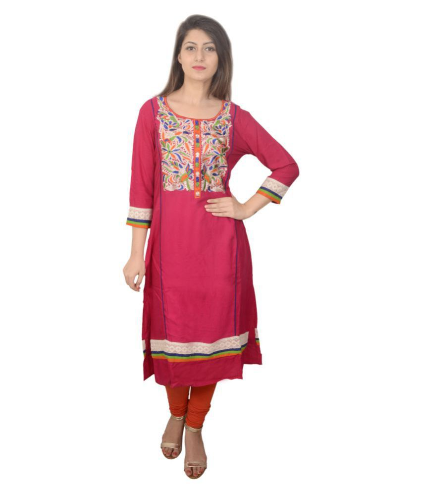 Bodhi-Leaf Pink Rayon Straight Kurti