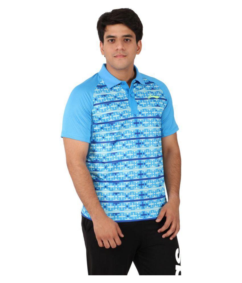 Li-Ning Blue Polyester T-Shirt Single Pack