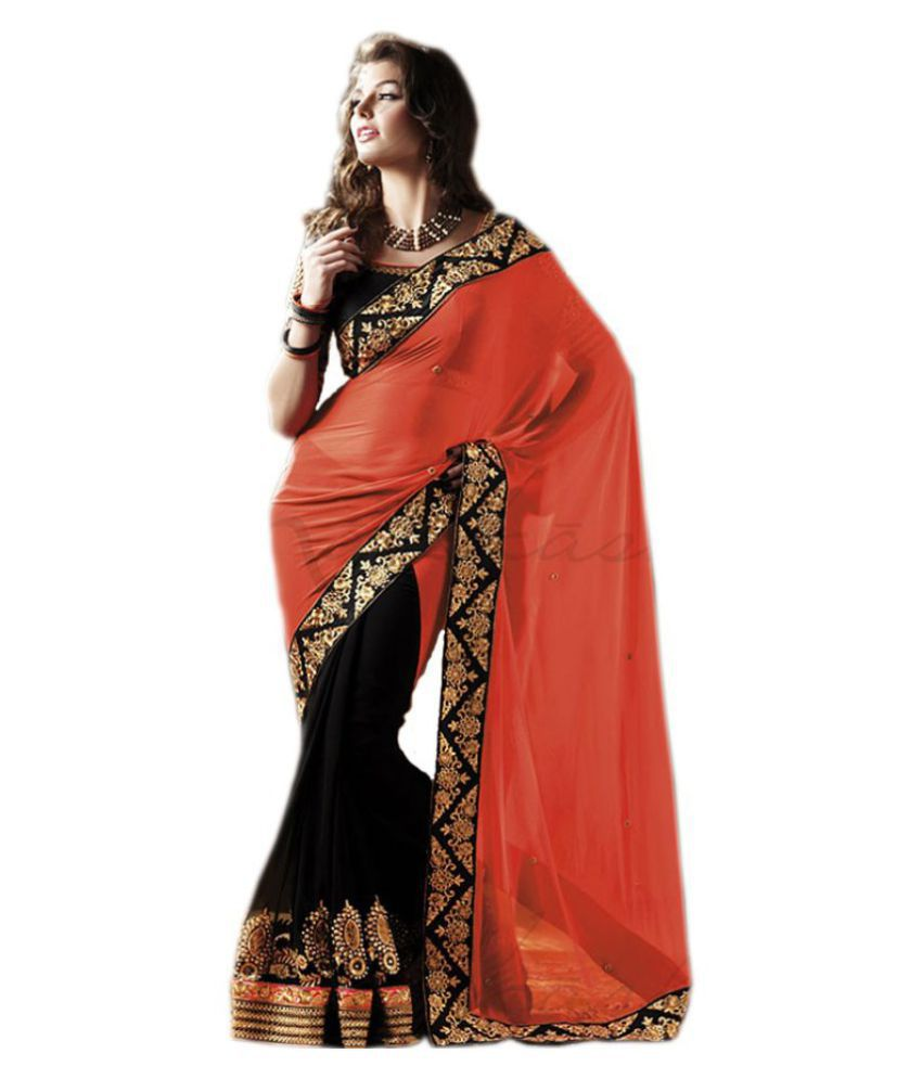 Meera Fashion Red and Black Georgette Saree