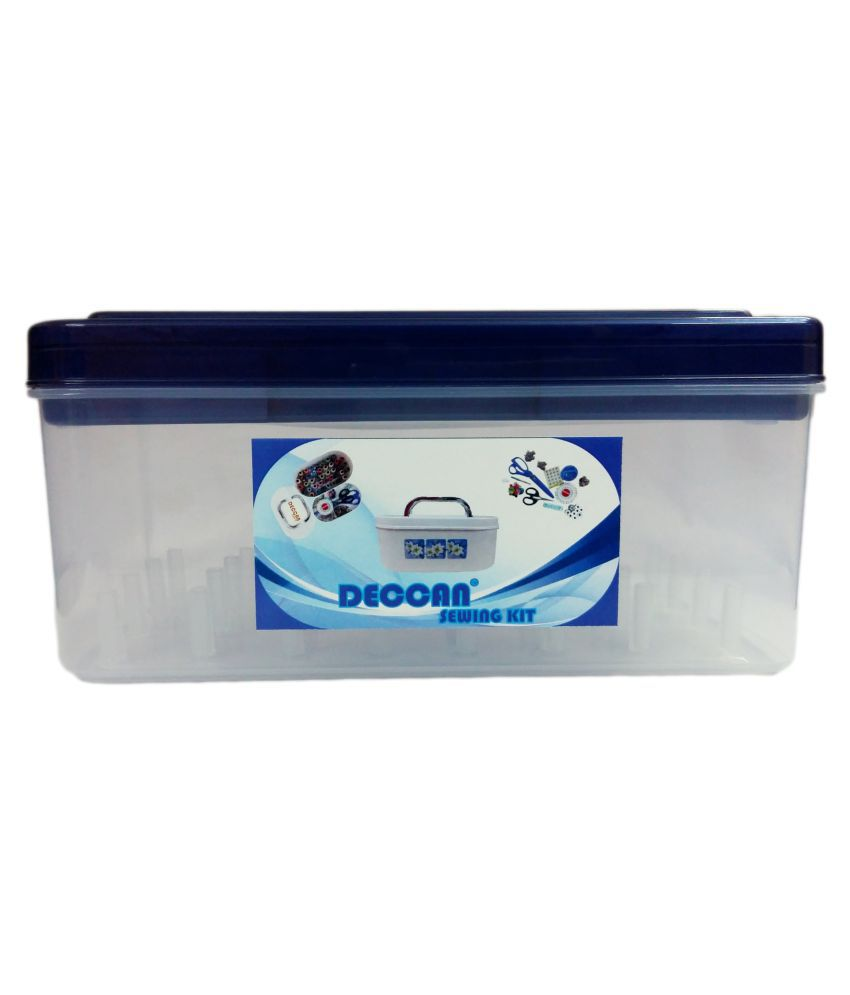 DECCAN ABS Sewing Thread and Accessories Storage Box Navy Blue