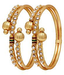 Jewels Gold Ethnic Gold Plated Artificial Comfy Stylish Bangles Set For Women & Girls (Pack of 2)
